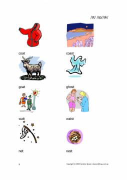 st sp sk - words with pictures - beginnings and ends of words ...