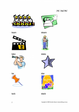 st sp sk - words with pictures - beginnings of words   Commtap
