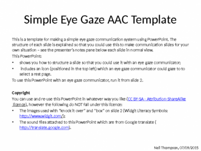Using PowerPoint to make AAC for eye gaze communicators